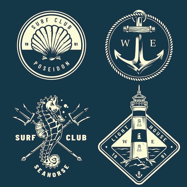 Collection De Logos Nautiques Monochromes Vecteur gratuit