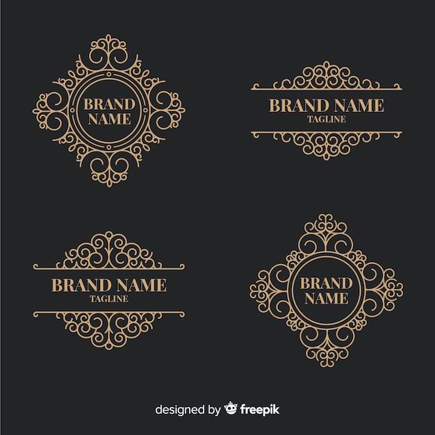 Collection de logos ornementaux vintage Vecteur gratuit