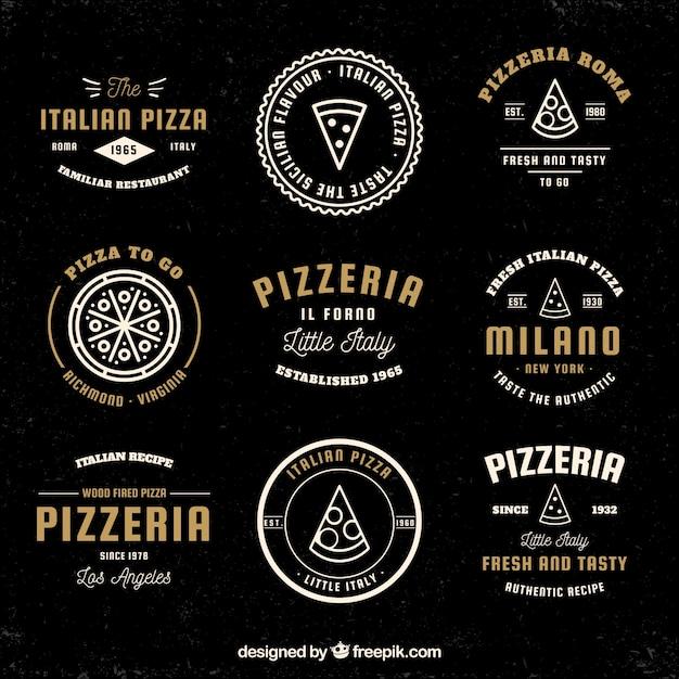 Collection de logos de pizza vintage Vecteur gratuit