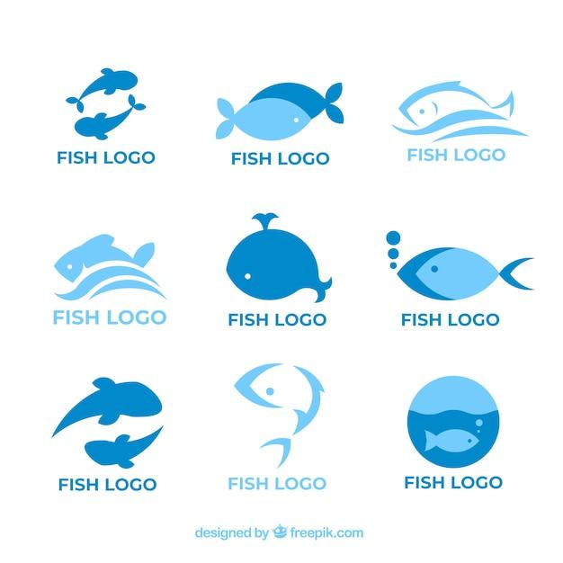Collection de logos de poissons pour l'image de marque des entreprises Vecteur gratuit