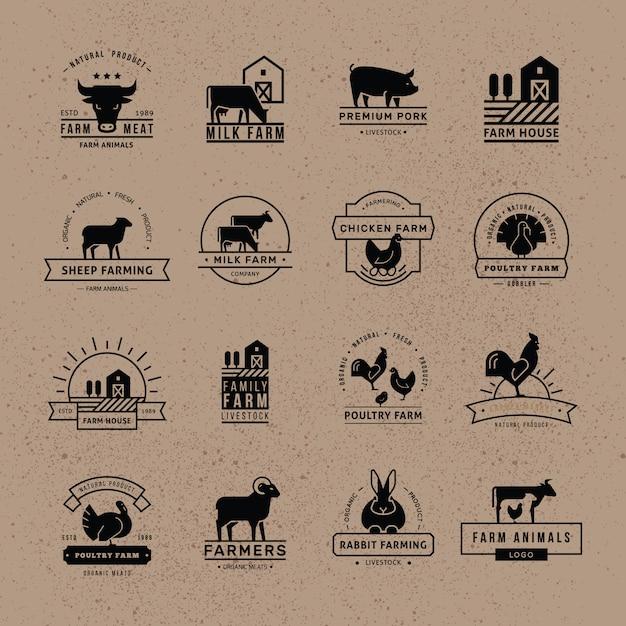 Collection De Logos Pour Les Agriculteurs, Les épiceries Et Autres Industries. Vecteur Premium