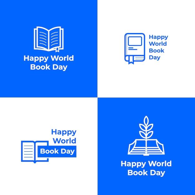 Collection De Logos Pour La Journée Mondiale Du Livre Vecteur Premium