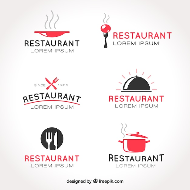 Collection De Logos De Restaurant Vecteur gratuit