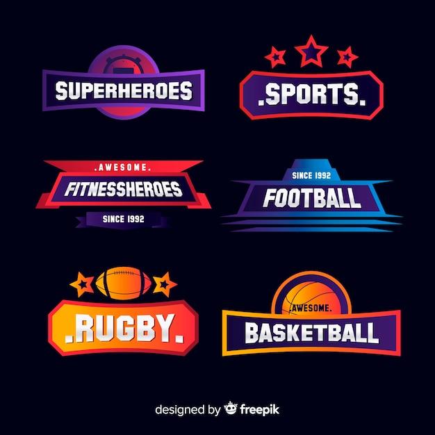 Collection de logos sportifs modernes Vecteur gratuit