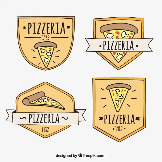 Collection Logos Avec Une Tranche De Pizza Vecteur gratuit