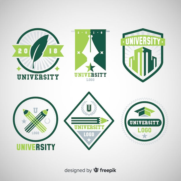 Collection de logos universitaires dans un style plat Vecteur gratuit