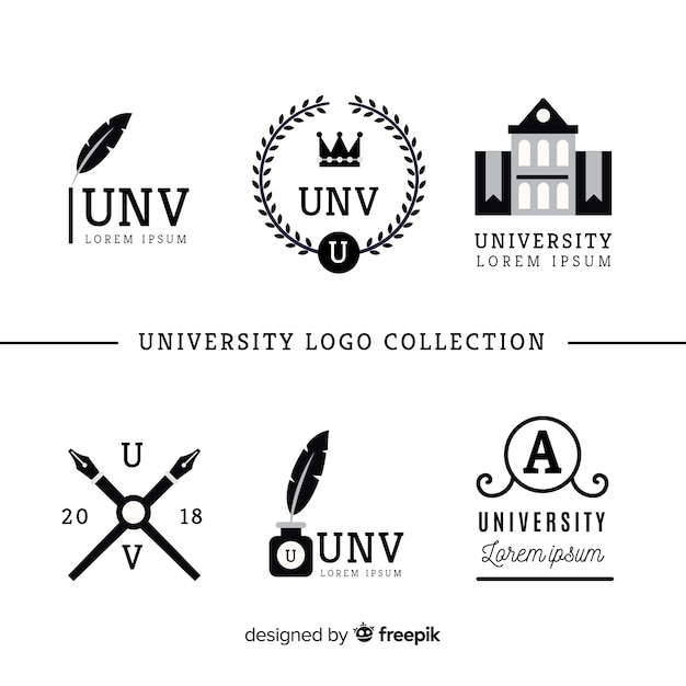 Collection de logos universitaires plats Vecteur gratuit