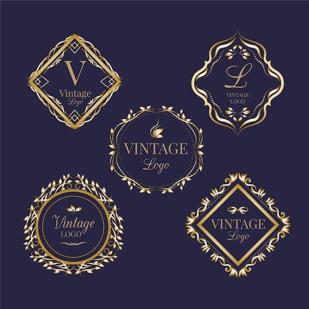 Collection De Logos Vintage Vecteur gratuit