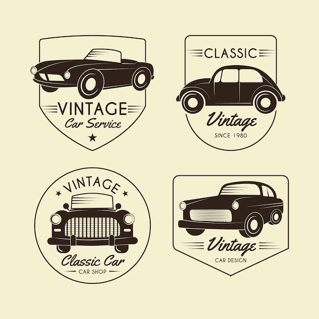 Collection De Logos De Voitures Anciennes Vecteur gratuit