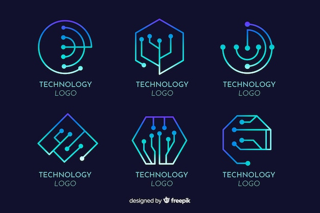 Collection De Logotype De Concept De Technologie De Gradient Vecteur gratuit