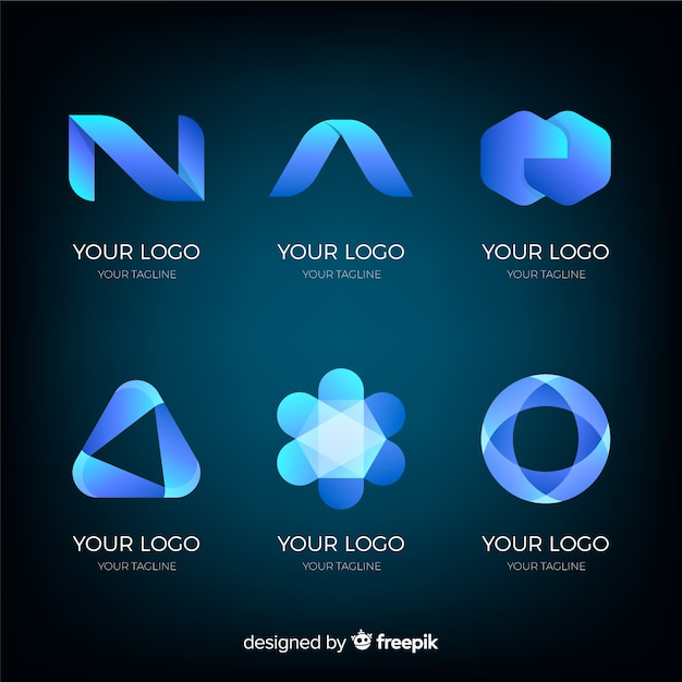 Collection de logotypes technologiques à gradient géométrique Vecteur gratuit