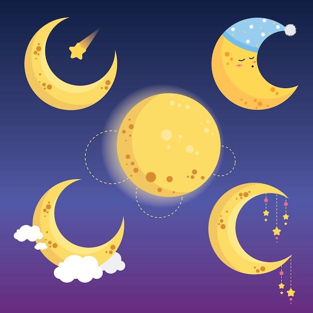 Collection de lune mignonne Vecteur Premium