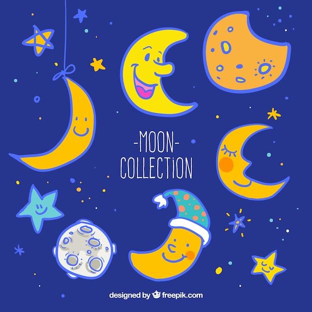Collection lune Vecteur gratuit
