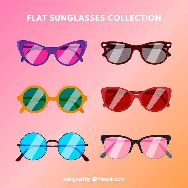 Collection de lunettes de soleil moderne dans un style plat Vecteur gratuit