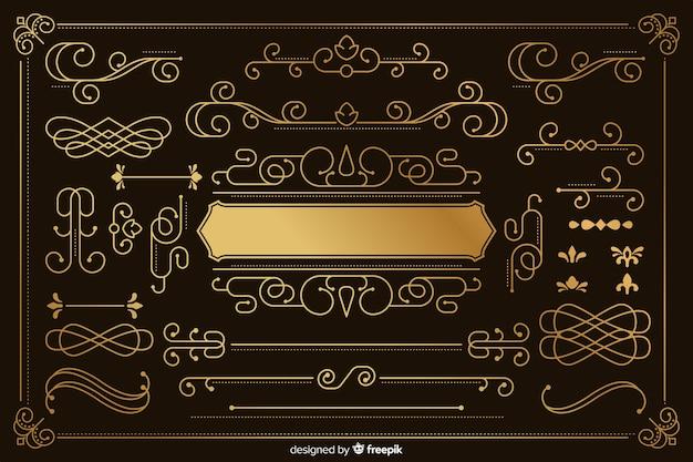 Collection luxueuse d'ornements d'or Vecteur gratuit