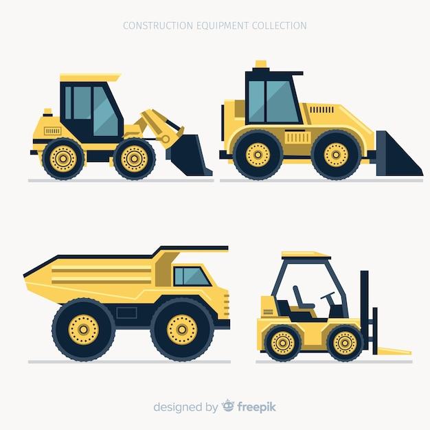 Collection de machines de construction plates Vecteur gratuit