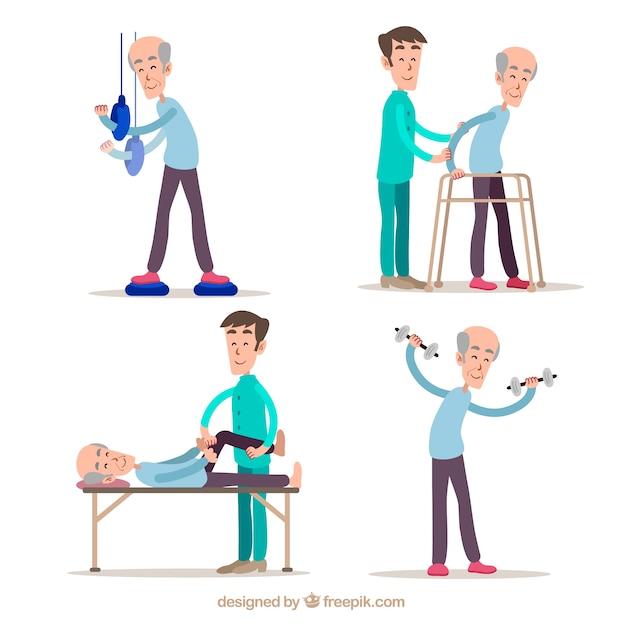 Collection à la main d'exercices de physiothérapie Vecteur gratuit