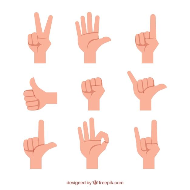 Collection De Mains Avec Différentes Poses En Syle Plat Vecteur gratuit