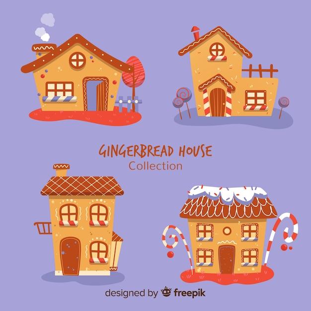 Collection maison originale en pain d'épice Vecteur gratuit