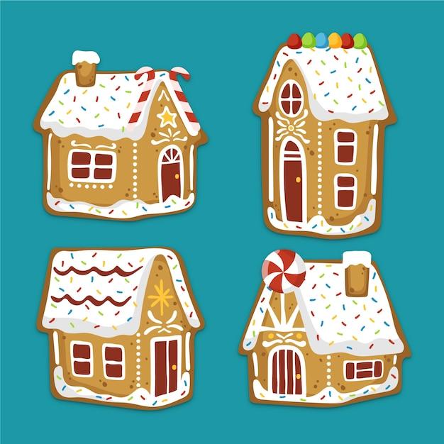 Collection de maison en pain d'épice dessinée à la main Vecteur gratuit