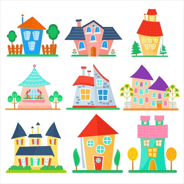 Collection de maisons de dessin animé mignon Vecteur Premium