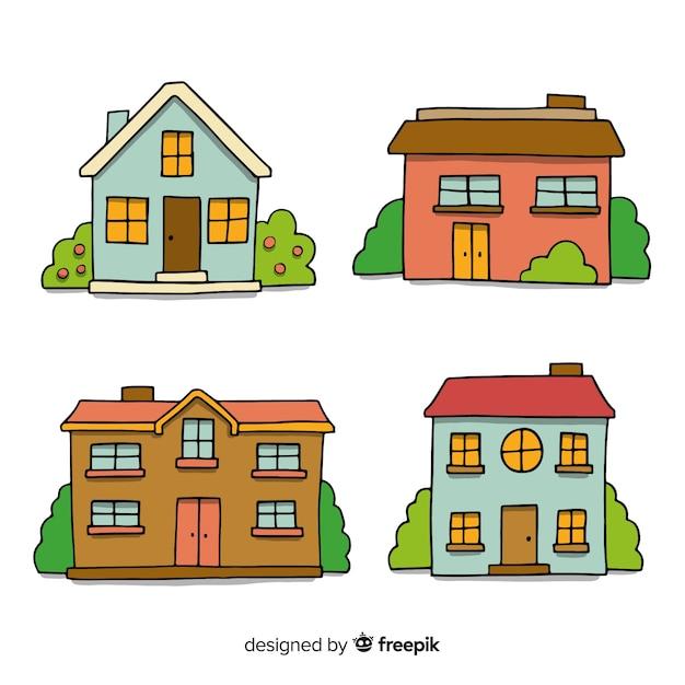 Collection de maisons dessinées à la main Vecteur gratuit