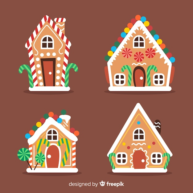 Collection de maisons de gingercookie de noël Vecteur gratuit