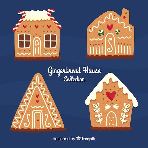 Collection de maisons en pain d'épice Vecteur gratuit