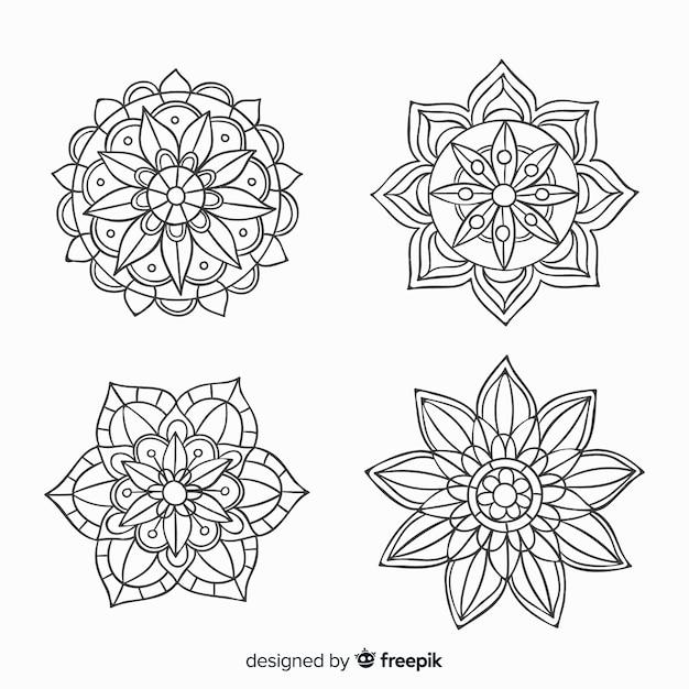 Collection De Mandala Décoratifs Dessinés à La Main Vecteur Premium