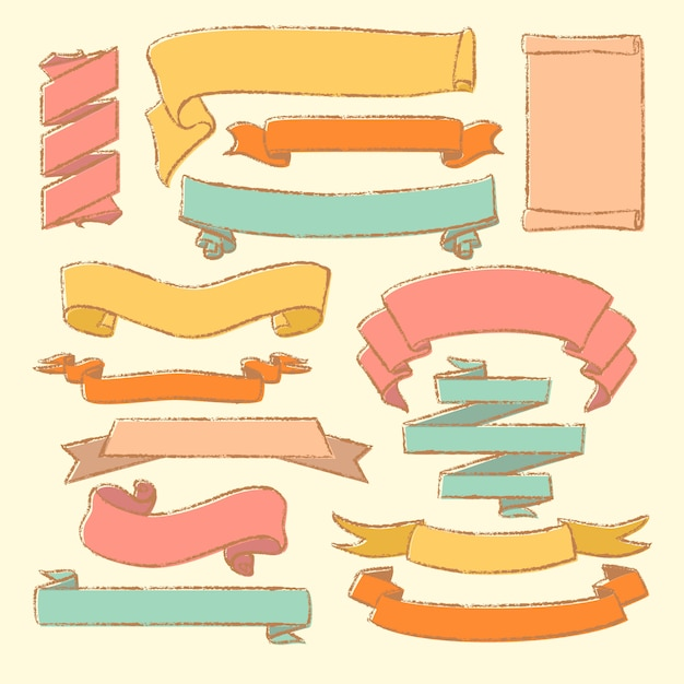 Collection de manuscrits dessinés à la main vintage Vecteur Premium