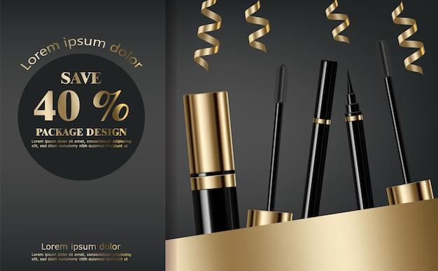 Collection mascara et eye-liner Vecteur Premium