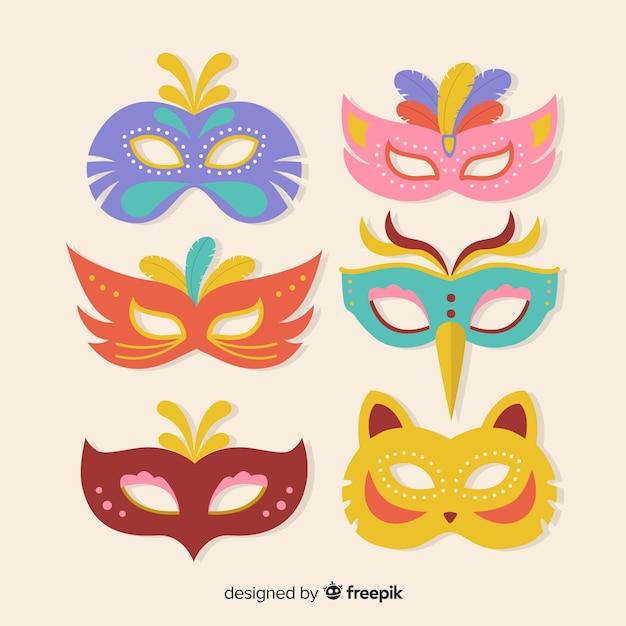 Collection de masques de carnaval plats Vecteur gratuit