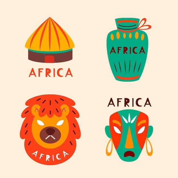 Collection De Masques Et Objets Logo Afrique Vecteur gratuit