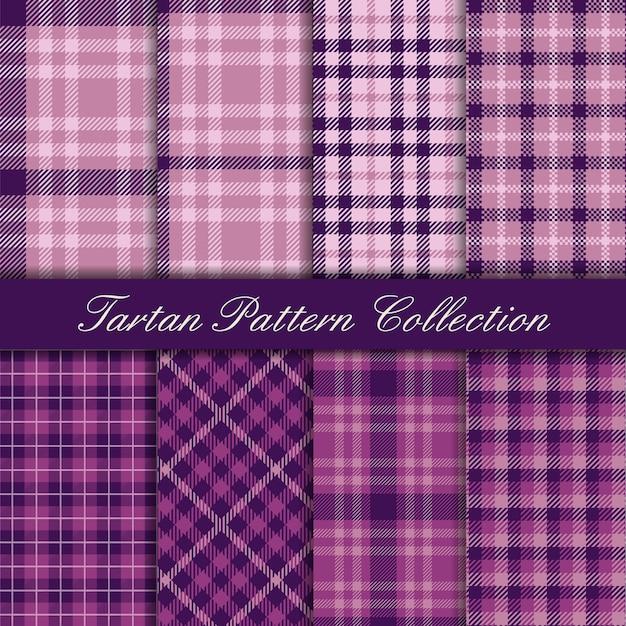 Collection Mauve Et Violette élégante De Modèles Sans Couture Tartan Vecteur Premium
