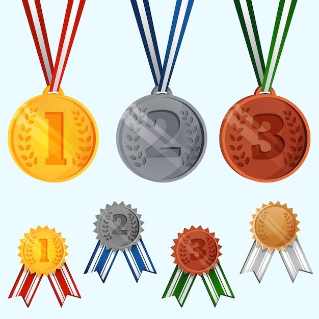 Collection de médailles fantastiques Vecteur gratuit