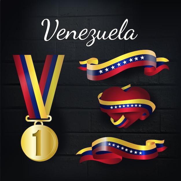 Collection de médailles d'or et de rubans du venezuela Vecteur gratuit