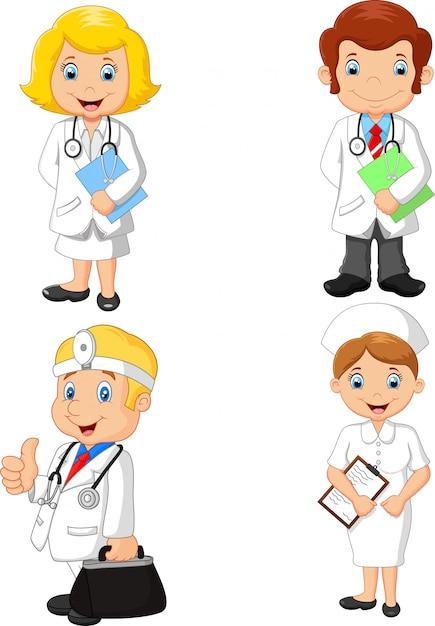 Collection de médecins et d'infirmières de bande dessinée Vecteur Premium