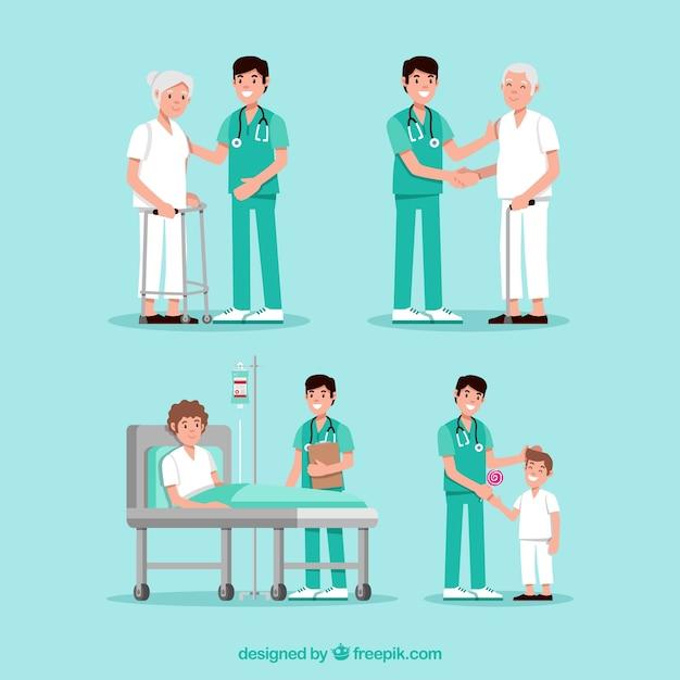Collection de médecins avec des patients Vecteur gratuit