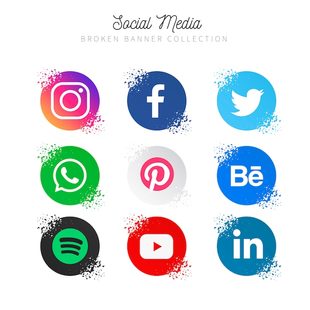 Collection de médias sociaux populaires Vecteur gratuit