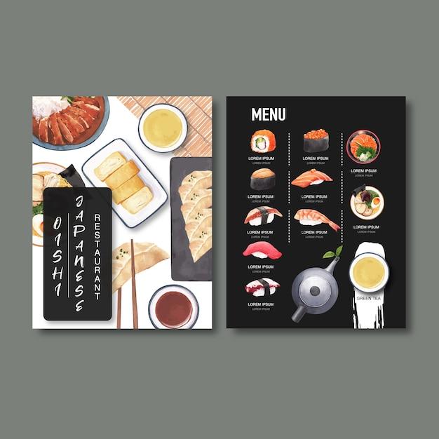 Collection de menus de sushi pour le restaurant. modèle avec des illustrations d'aquarelle de nourriture. Vecteur gratuit
