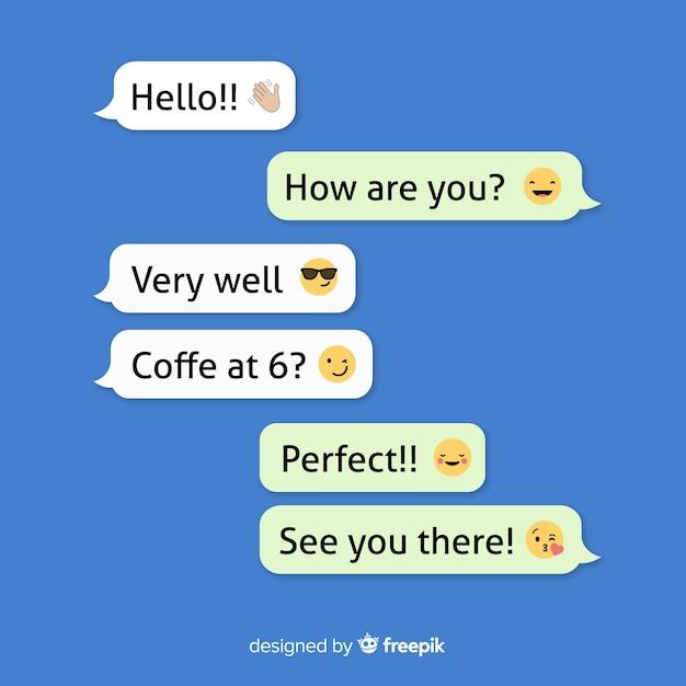 Collection De Messages Avec Emojis Vecteur Premium