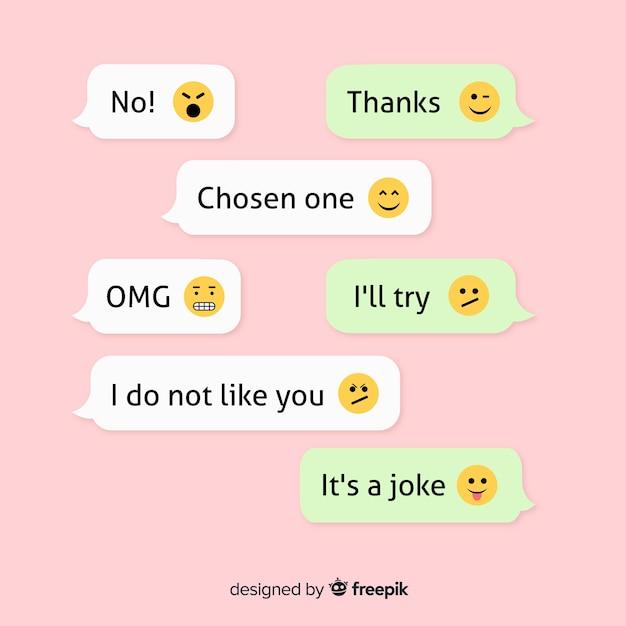 Collection De Messages Avec Emojis Vecteur gratuit