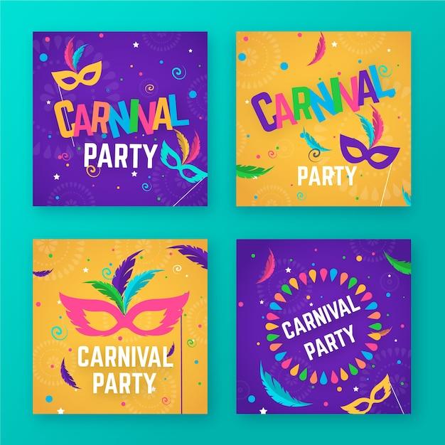 Collection De Messages De Fête De Carnaval Vecteur gratuit