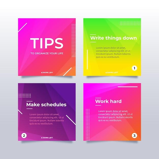 Collection De Messages Instagram Colorés Vecteur gratuit