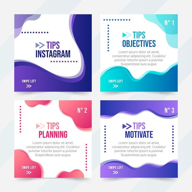 Collection De Messages Instagram Conseils Colorés Vecteur gratuit