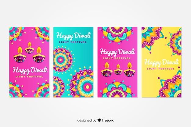 Collection de messages instagram diwali Vecteur gratuit