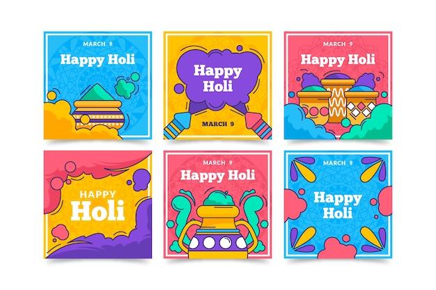 Collection De Messages Instagram Festival Coloré Holi Vecteur gratuit