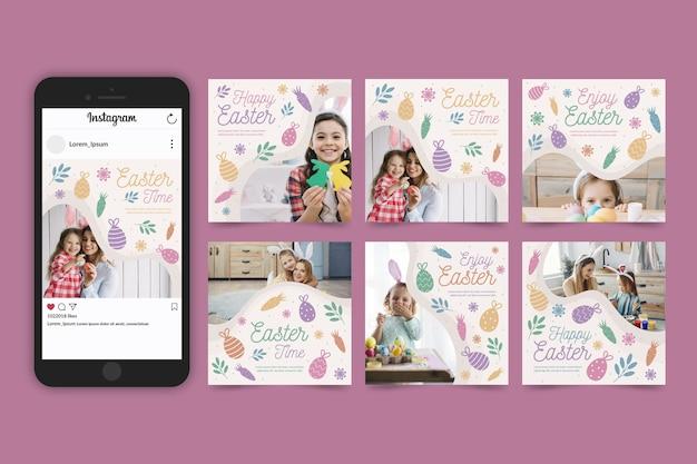 Collection De Messages Instagram De Pâques Avec Des Photos Vecteur gratuit