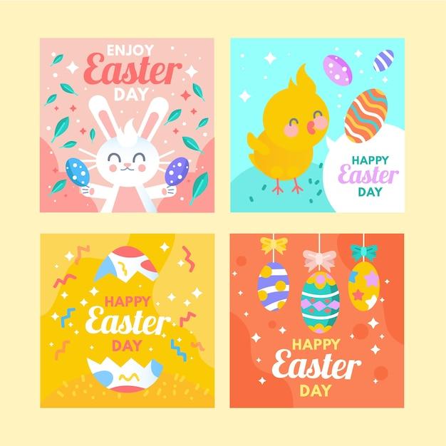 Collection De Messages Instagram De Pâques Vecteur gratuit