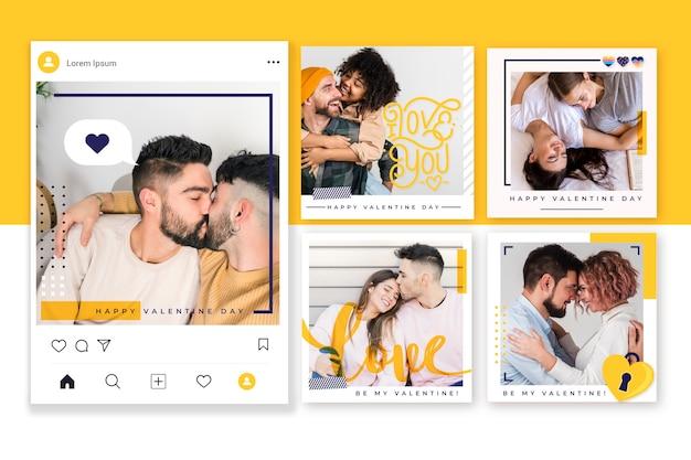 Collection De Messages Instagram Pour La Saint-valentin Vecteur gratuit